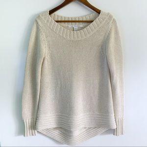 Diane Von Furstenberg Knit Metallic Beige Sweater